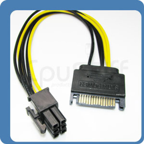8 inch SATA 15pin to 6pin PCI Express Card Power Cable