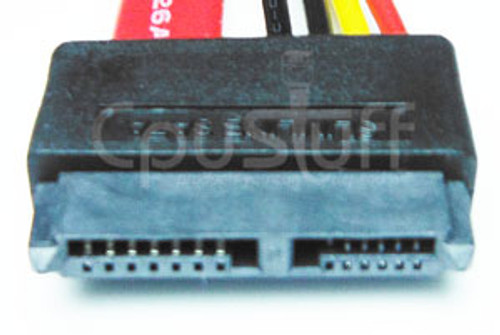 13 pin Slimline SATA 7 + 6 female to 22 pin SATA 7 + 15 male - 18 inch