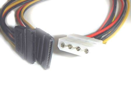 4 pin female molex to 2 sata 15 pin power connector 12 inches long .