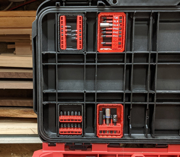 Milwaukee Packout Rolling Tool Box Lid Bit Holders