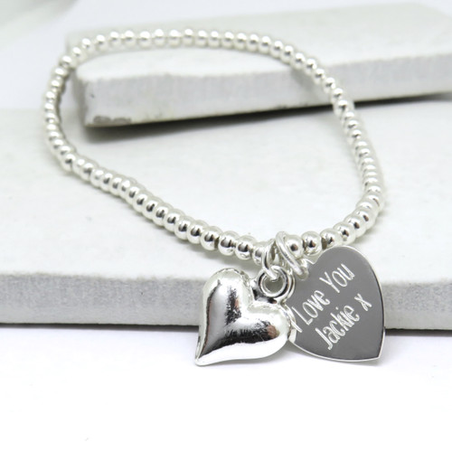 Personalised silver stacking beaded bracelet with silver heart charm on stretch elastic gift for her birthday or Christmas & a great gift for teenage girls or a women.