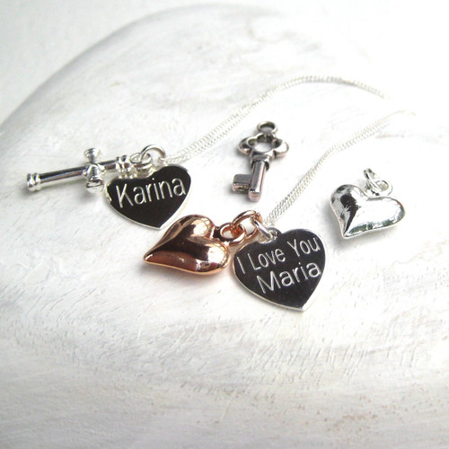 Personalised charm necklace a unique girls Christening gift, 16th 18th birthday, holy communion,  Christmas or teachers thank you gift. Charms heart, cross, teddy ,fairy, flower, key, star etc.