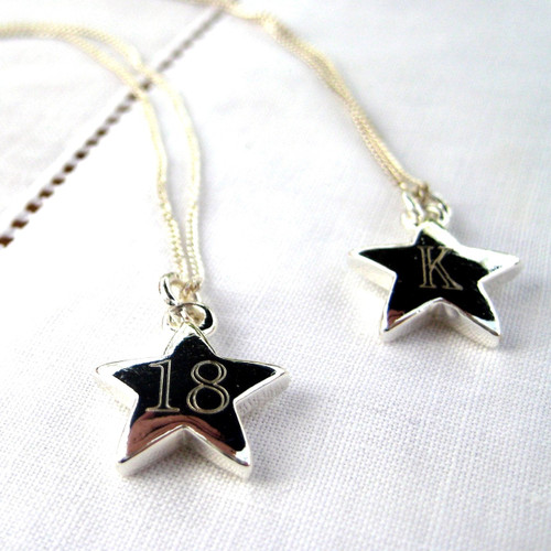 Personalised sterling silver necklace comes with a lovely little 15mm star that is plated with sterling silver engraved with your choice of initial or number - a very popular with women & teenage girl for a graduation,bridesmaidsgift,a thank you gift for being a star or for a special 16th or 18th birthday.