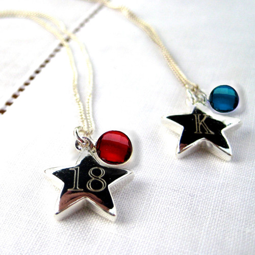 personalised sterling silver necklace comes with a star engraved with an initial or number & you also have the choice of gemstone (birthstone)