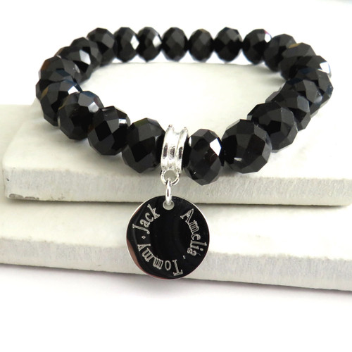 Personalised stretch bracelet is made from black glass & comes with an engraved silver plated or sterling silver disc great for a gift for a special birthday, Christmas, Valentines gift or for Mothers day