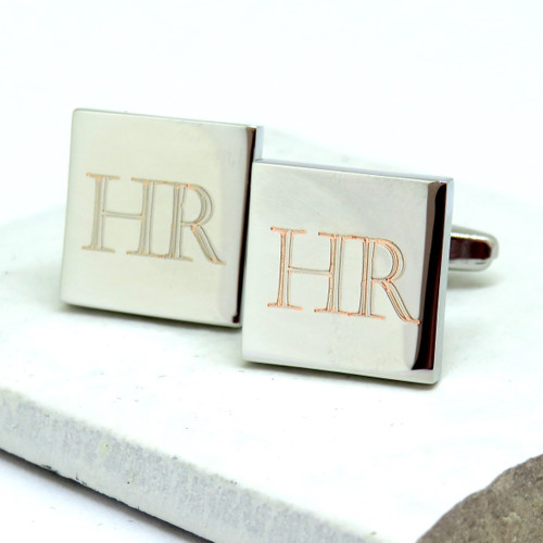 Personalised intital square cufflinks dropshipping trade ayedo.co.uk