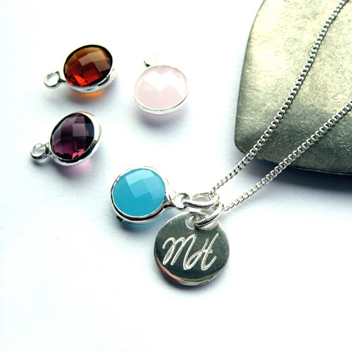 Engraved necklace with handwriting and birthstone on a sterling silver fine chain the perfect gift for women or a girls birthday, at Christmas or Christening.