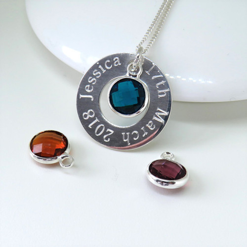 Personalised birthstone necklace design is made from a fine sterling silver chain & is personalised with your choice of name or words on a sterling silver 22mm round metal disc making this a great gift for her on her birthday,for a new mum or for a special anniversary gift.