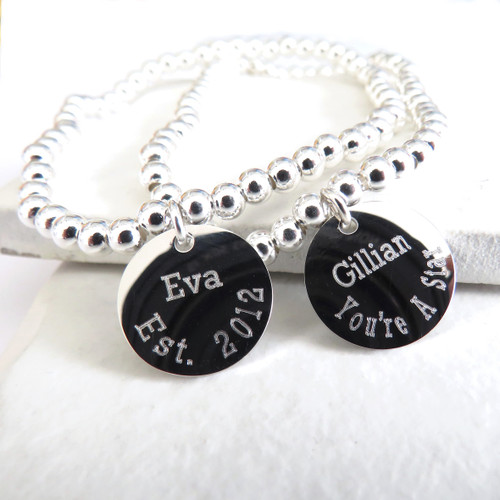 Personalised silver ball stacking elasticated bracelet & engraved sterling silver disc. A unique gift for a women or teenage girl for her birthday, as a bridesmaids gift,Christmas.