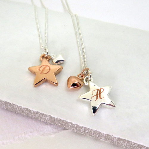 Engraved Rose gold or silver Star Necklace with Mini heart charm personalised under £25 a great bridesmaids gift