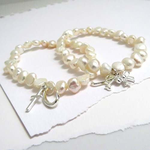 Personalised pearl elastic stacking bracelet sterling silver plated initial charm & a sterling silver or rose gold mini charm UK handmade under £20