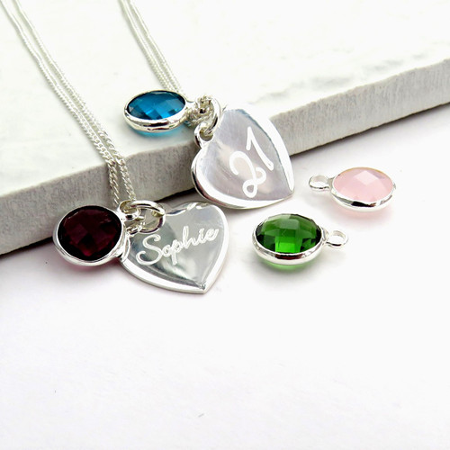 Personalised birthstone Serling silver necklace chain. This is a perfect gift for a young lady or women for their birthday,Christmas or graduation.
