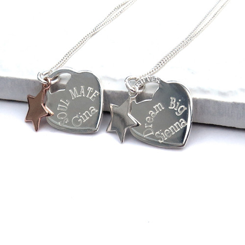 Personalised sterling silver heart tag necklace with engraved message & a silver or rose gold mini charms, a wonderful gift for a birthday or Anniversary. Personalised jewellery UK