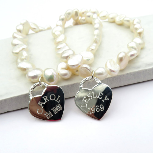 Personalised pearl stacking bracelet - with engraved sterling silver heart tag a popular present for bridesmaids gifts, her birthday or Christmas.