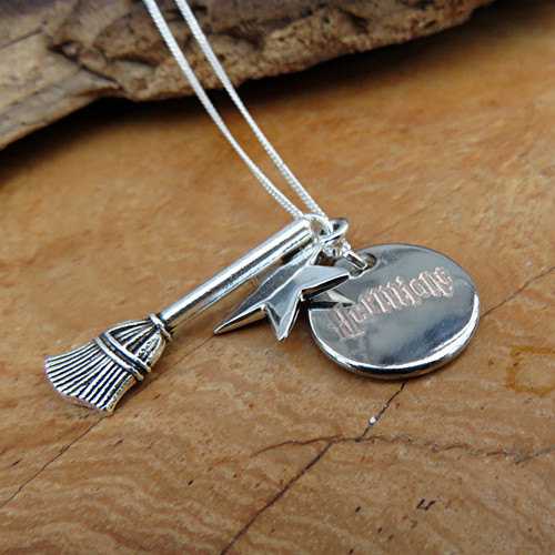 Personalised Harry Potter sterling silver necklace engraved with your choice of name or word a great gift for girls who love Harry Potter or Fantastic Beasts.