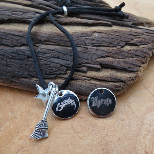 Harry Potter personalised satin cord friendship bracelet is engraved just for you with your chosen name or word in Harry Potter styled writing on a 16mm round silver plated disc