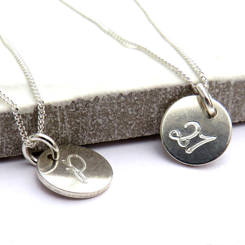 Personalised sterling silver necklace engraved with a litter initial or  number great gift for women's wedding, a girls birthday or as a leaving teachers gift.