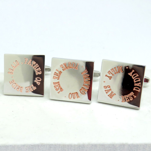 Square Personalised Engraved Daddy Grandad Brother Wedding Cufflinks UK - AyeDo.co.uk dropshipping