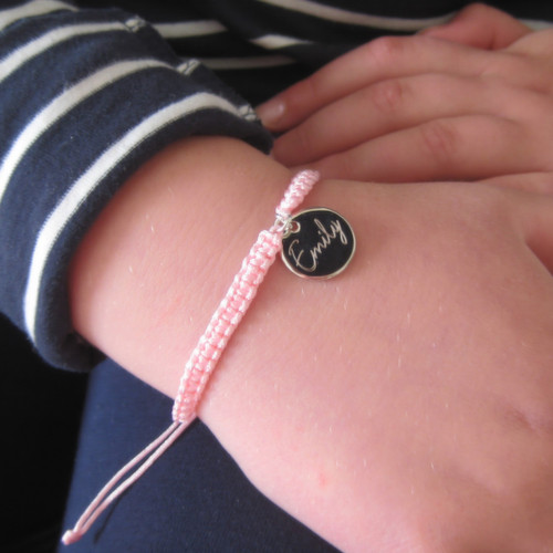 Personalised girls friend ship bracelet for her birthday,Christmas,best friend gift in pale pink,bright pink,purple or black engraved in the UK Scotland ayedogifts.co.uk under twenty pounds.