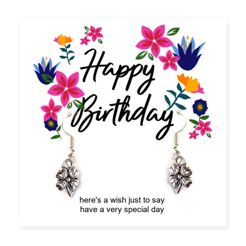 "Happy birthday flower earrings with a flower message card and the words ""here's a wish just to say, have a very special day"".  A great to give to a little girl, teenage sister, aunty or mum on her birthday."