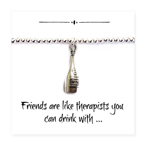 "Charm bracelet with wine bottle a funny gift for your best friend on a message card with a humorous message that says ""Friends are like therapists you can drink with""."