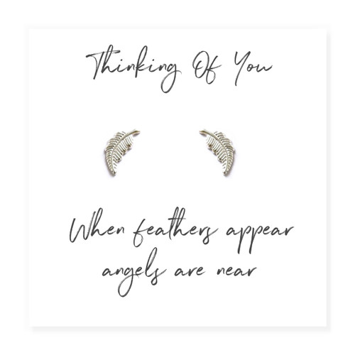 "These pretty little sterling silver feather earrings are a touching memorial keepsake, they come with a little message card with the words "" Thinking of you, When Feathers Appear, Angels Are Near"""