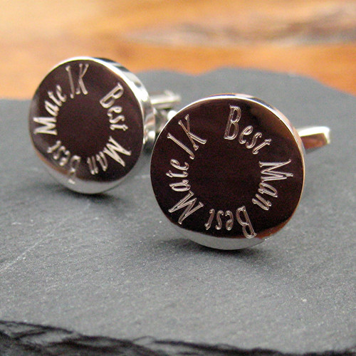 Personalised best man round wedding cufflinks, these come in a silver coloured rhodium plated finish which doesn't tarnish with your choice of engraving these make a great gift for the best man.