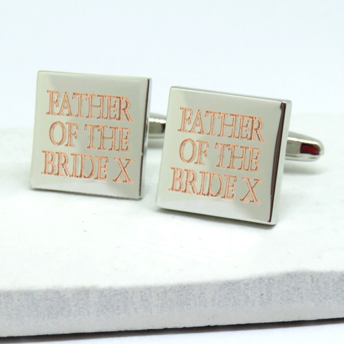 Personalised Father Of The Bride Square Cufflinks UK dropshipping ayedogifts