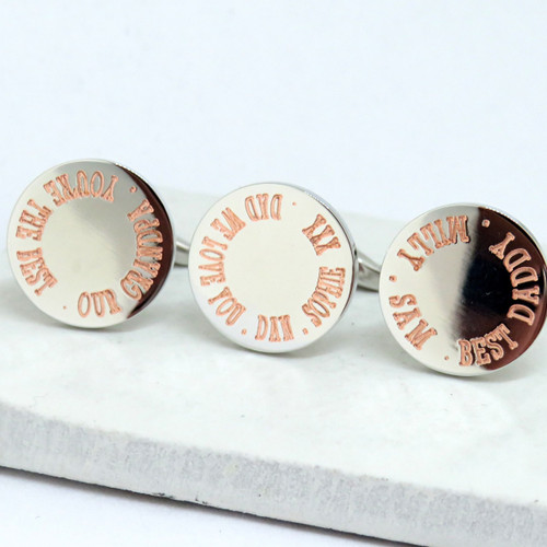 Personalised Border Round Cufflinks - Dad new daddy grandad grandpa pops pa dropshipping Uk ayedo.co.uk