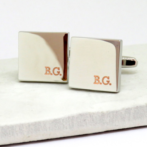 Personalised square initial corner cufflinks dropshipping gifts ayedo.co.uk