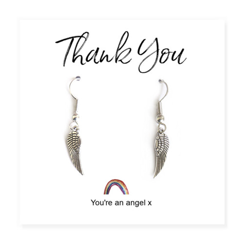 Angel wing earrings on a little rainbow message card wholesale UK