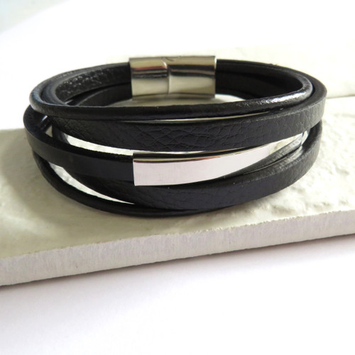 luxury black multi strand leather bracelet has a rectangle stainless steel rectangular feature & robust clasp it's a great gift for a man or a boy for a special 16th,18th, 21st or 40th birthday, Father's day, a gift for a new Daddy, Christmas or for a your boyfriend or husband