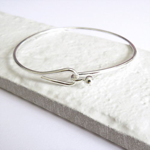 Women's silver hoop cuff bangle plated with sterling silver a unique gift for a woman a keepsake gift for a bridesmaids, for her birthday or Christmas.