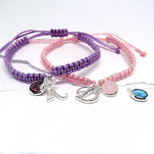 Personalised Friendship Bracelet - Initial & Birthstone pink,purple,fushia,bright pink and black