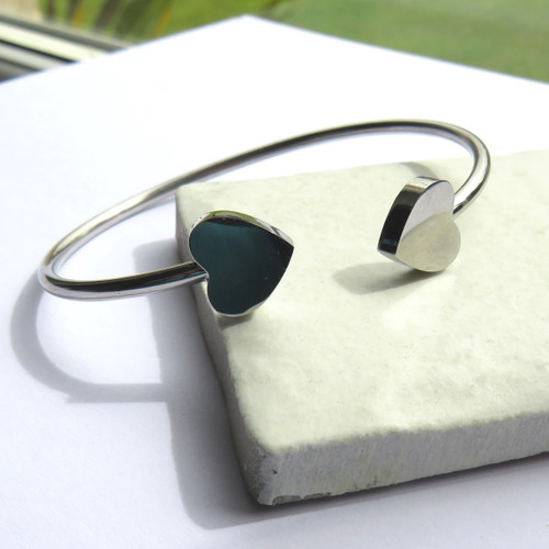 Two Hearts Silver Bangle trade drop shipping UK ayedogifts.co.uk