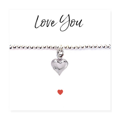 "Silver heart charm stretch beaded bracelet is presented on a message card with the words ""Love You""  Trade drop shipping UK ayedogifts perfect for Valentines, Mothers day, Thank you, her birthday for your sister, girl friend, Auntie, Mum or Gran."