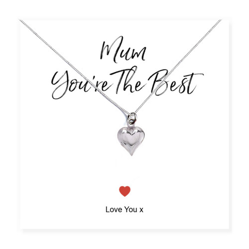 Mum You're The Best silver heart necklace on a message card Trade drop shipping UK ayedogifts perfect for Mothers day, Thank you, her birthday for your sister, girl friend, Auntie, Mum or Gran.
