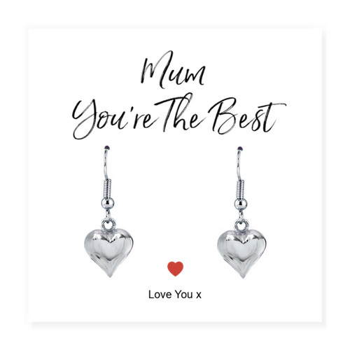 Mum You're The Best Silver Heart Earrings & Card Trade drop shipping UK ayedogifts perfect for Mothers day, Thank you, her birthday for your sister, girl friend, Auntie, Mum or Gran.