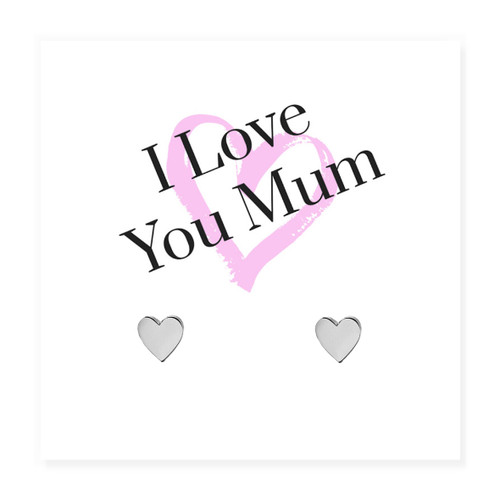 """Silver heart earrings are hypoallergenic and are presented on a message card with the words """"I Love You Mum"""" trade drop shipping UK ayedogifts perfect for Mothers day, Thank you, her birthday for your sister, girl friend, Auntie, Mum or Gran."""