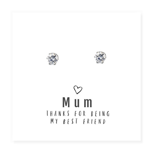 """""""Mum Thanks For Being My Best Friend """" round cubic zirconia Earrings & Message Card Trade drop shipping UK"""