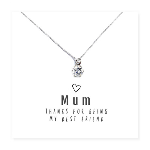 """""""Mum Thanks For Being My Best Friend """" round cubic zirconia necklace & Message Card Trade drop shipping UK"""