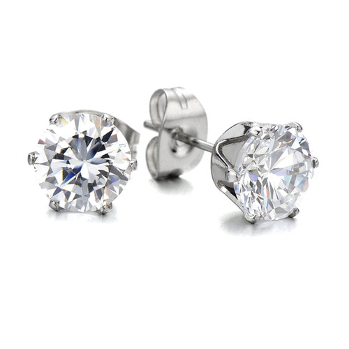 6mm round cubic zirconia Earrings & Message Card Trade drop shipping UK