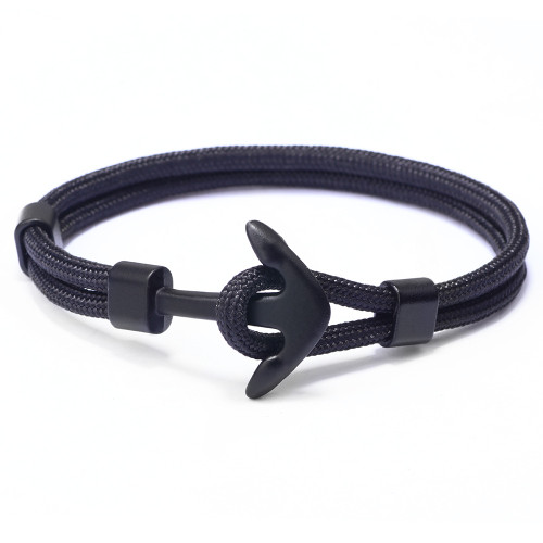 Cool men's Black Anchor Bracelet made from paracord an affordable gift for him under fifteen pounds for his birthday, barmitzvah, Christmas, Valentines of Fathers Day.