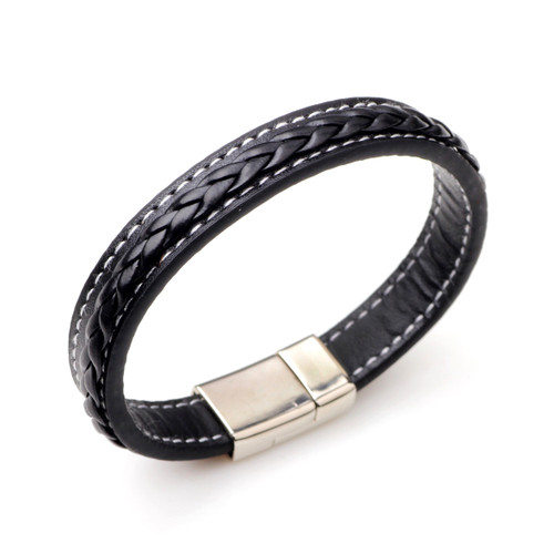 Men's Faux Black Leather Bracelet with Magnetic Clasp drop shipped men's gifts trade UK