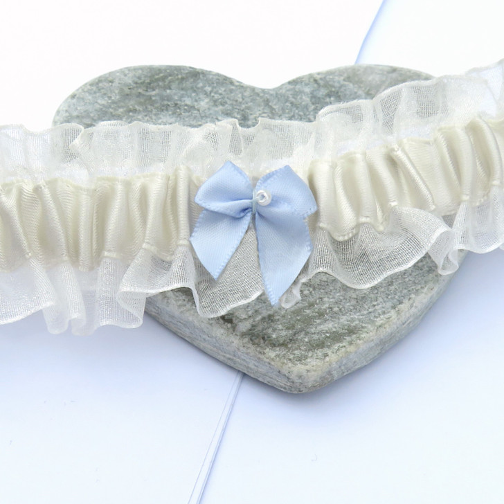 Something Blue Bow Wedding Garter handmade in the UK from pale ivory satin ribbon & sheer organza fits sizes 8-18. Under £20