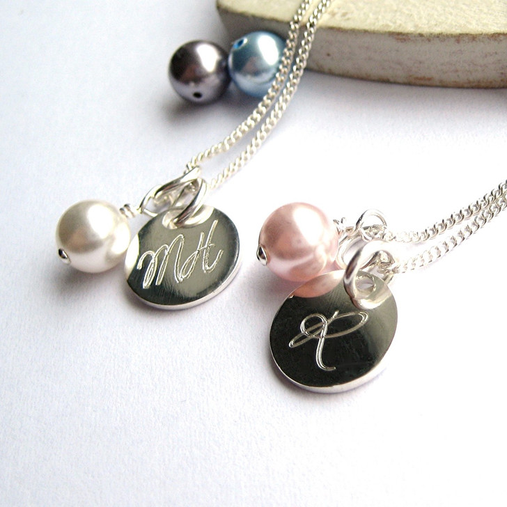 Personalised sterling silver pearl necklace with coloured Swarovski pearl, engraved for you a unique gift for a women or a girl on her birthday, Christmas , Christening or bridesmaids.