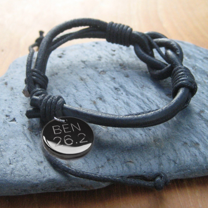 Leather & cord unisex marathon personalised engraved bracelet the perfect gift for Christmas,birthday,Fathers Day or valentines. Suitable for Men,women,girls or boys.