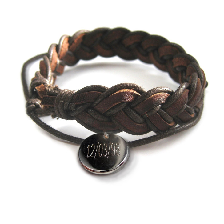 personalised date pleated mens leather bracelet engraved with your choice of numbers or letters