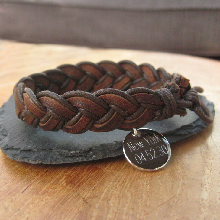 personalised brown pleated men's leather bracelet engraved in the UK