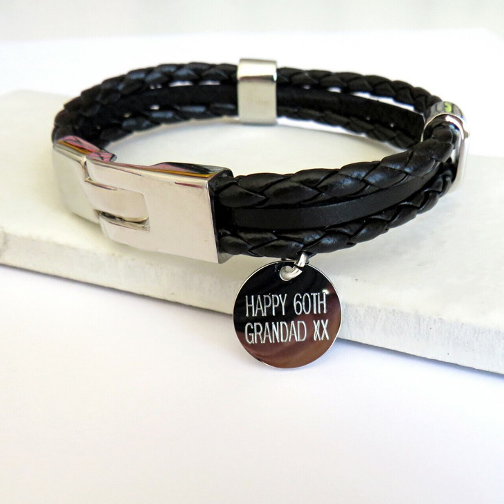 Dropping trade personalised multi-strand leather & cord men's bracelets are engraved in the UK